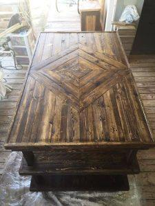 repurposed pallet sewing work table
