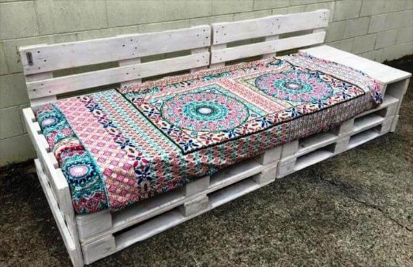 white painted pallet outdoor sofa or bench