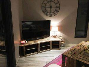 Rustic Pallet Corner TV Console and Coffee Table