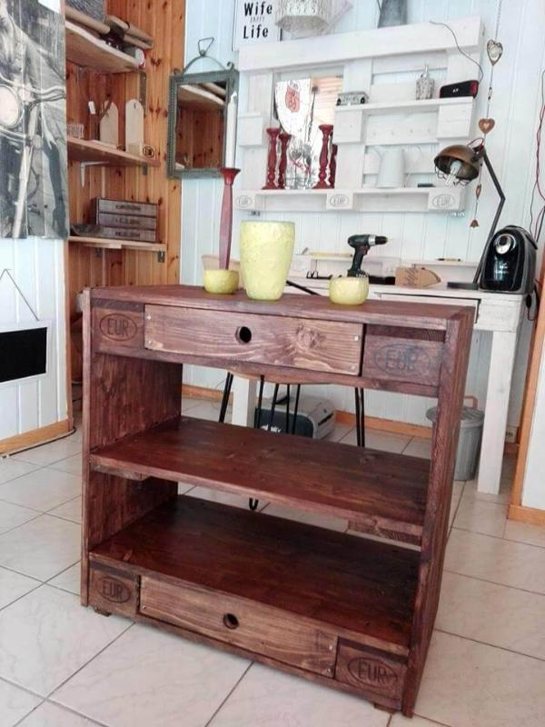 brown stained pallet entryway table