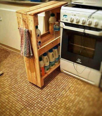 hand-built pallet laundry room rack