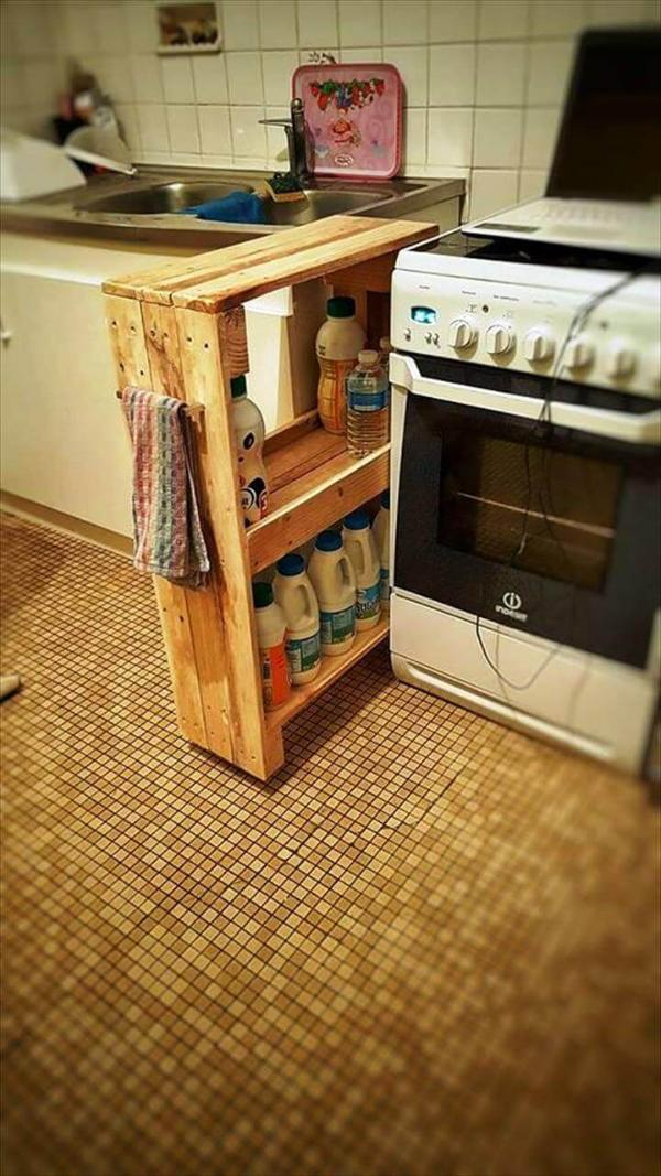 hand-built pallet laundry room rack