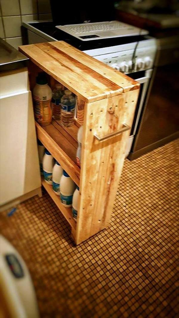 custom-built wooden pallet laundry room rack